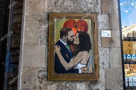 Editorial picture of 'Gone with the kiss' graffiti by TVBoy in Barcelona, Spain - 10 May 2021