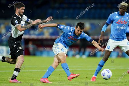 Hirving Lozano of SSC Napoli scores third goal during the Serie A match between Napoli and Udinese at Stadio Diego Armando Maradona, Naples, Italy on 11 May 2021.