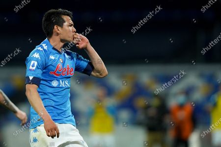 Hirving Lozano of SSC Napoli celebrates after scoring third goal during the Serie A match between Napoli and Udinese at Stadio Diego Armando Maradona, Naples, Italy on 11 May 2021.