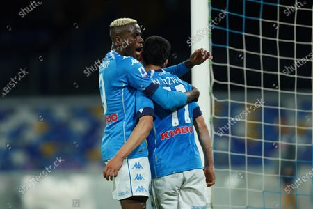 Hirving Lozano of SSC Napoli celebrates with Victor Osimhen of SSC Napoli  after scoring third goal during the Serie A match between Napoli and Udinese at Stadio Diego Armando Maradona, Naples, Italy on 11 May 2021.