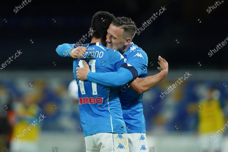 Hirving Lozano of SSC Napoli celebrates with Piotr Zielinski of SSC Napoli after scoring third goal during the Serie A match between Napoli and Udinese at Stadio Diego Armando Maradona, Naples, Italy on 11 May 2021.
