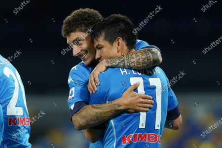 Hirving Lozano of SSC Napoli celebrates with Giovanni Di Lorenzo of SSC Napoli after scoring third goal during the Serie A match between Napoli and Udinese at Stadio Diego Armando Maradona, Naples, Italy on 11 May 2021.