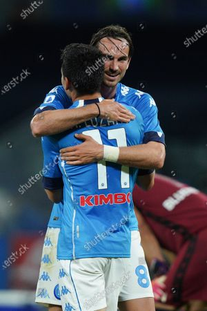 Hirving Lozano of SSC Napoli celebrates with Fabian Ruiz of SSC Napoli after scoring third goal during the Serie A match between Napoli and Udinese at Stadio Diego Armando Maradona, Naples, Italy on 11 May 2021.