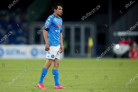 Hirving Lozano of SSC Napoli looks on during the Serie A match between Napoli and Udinese at Stadio Diego Armando Maradona, Naples, Italy on 11 May 2021.