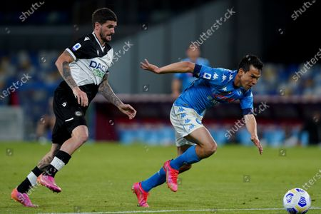 Hirving Lozano,and Rodrigo De Paul of Udinese Calcio compete for the ball during the Serie A match between Napoli and Udinese at Stadio Diego Armando Maradona, Naples, Italy on 11 May 2021.