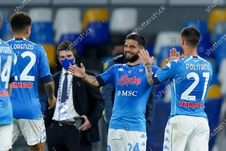 Lorenzo Insigne of SSC Napoli celebrates after scoring fifth goal during the Serie A match between Napoli and Udinese at Stadio Diego Armando Maradona, Naples, Italy on 11 May 2021.