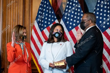 Editorial image of Speaker of the United States House of Representatives Nancy Pelosi (Democrat of California) holds a ceremonial swearing-in for United States Representative-elect Troy Carter (Democrat of Louisiana), Washington, District of Columbia, USA - 11 May 2021