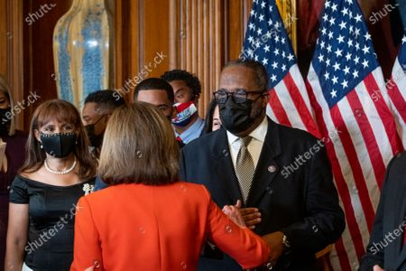 Editorial photo of Speaker of the United States House of Representatives Nancy Pelosi (Democrat of California) holds a ceremonial swearing-in for United States Representative Troy Carter (Democrat of Louisiana), Washington, District of Columbia, USA - 11 May 2021