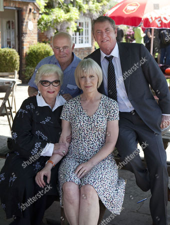 John Nettles and Jane Wymark with Betty Willingate, who originally commissioned the series for ITV (front left) and Barry Jackson (Pathologist George Pullard)