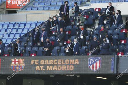 "Stock Image of Joan Laporta (Barcelona), Enrique Cerezo (Atletico) - Football / Soccer : Spanish ""La Liga Santander"" match between FC Barcelona 0-0 Atletico de Madrid at the Camp Nou stadium in Barcelona, Spain."
