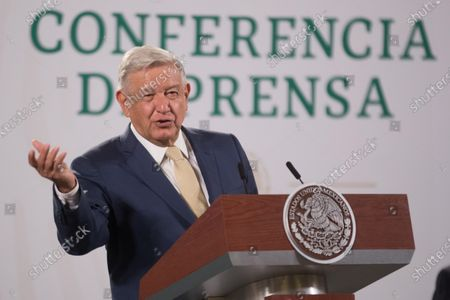 Mexico's President Andres Manuel Lopez Obrador speaks during Daily briefing conference at National Palace