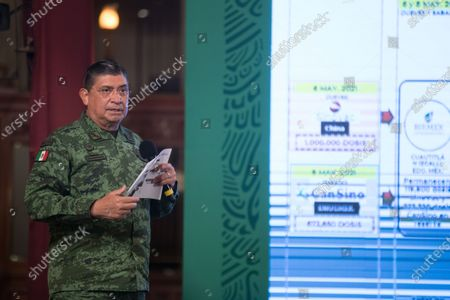 Stock Image of Luis Cresencio Sandoval, Secretary of National Defense, speaks during a press conference offers by Mexico's President Andres Manuel Lopez Obrador at National Palace