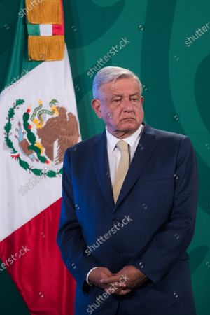 Stock Picture of Mexico's President Andres Manuel Lopez Obrador speaks during Daily briefing conference at National Palace