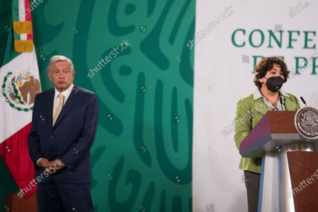 Stock Photo of Delfina Gomez, Minister of Education, speaks during a press conference offers by Mexico's President Andres Manuel Lopez Obrador at National Palace