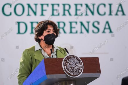 Delfina Gomez, Minister of Education, speaks during a press conference offers by Mexico's President Andres Manuel Lopez Obrador at National Palace
