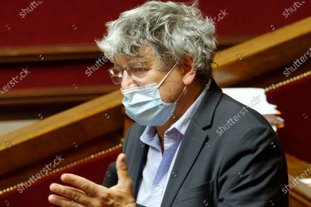 France Insoumise Member of Parliament Eric Coquerel opposes at the project of the government about Covid-19 health crisis exit and transition management with a new plan of sanitary measures expanded witch stipulates sanitary pass and local lockdown - May 10, 2021, Paris France