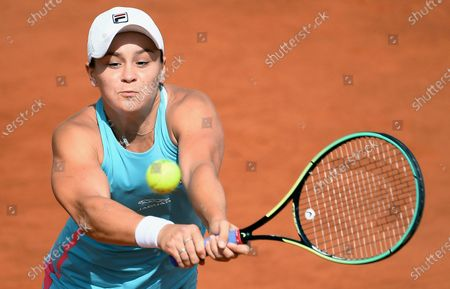 Ashleigh Barty of Australia in action against Yaroslava Shvedova of Kazakhstan during their women's singles second round match at the Italian Open tennis tournament in Rome, Italy, 12 May 2021.