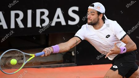 Stock Picture of Matteo Berrettini of Italy in action against John Millman of Australia during their men's singles second round match at the Italian Open tennis tournament in Rome, Italy, 12 May 2021.
