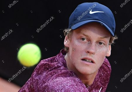 Jannik Sinner of Italy in action against Rafael Nadal of Spain during their men's singles second round match at the Italian Open tennis tournament in Rome, Italy, 12 May 2021.