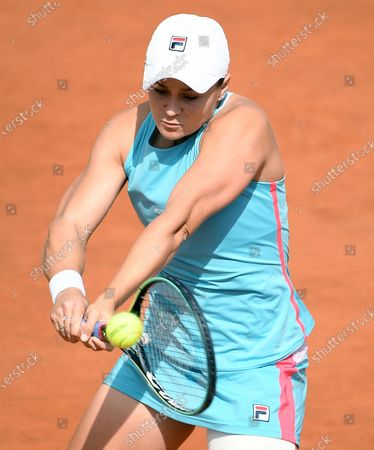 Stock Image of Ashleigh Barty of Australia in action against Yaroslava Shvedova of Kazakhstan during their women's singles second round match at the Italian Open tennis tournament in Rome, Italy, 12 May 2021.