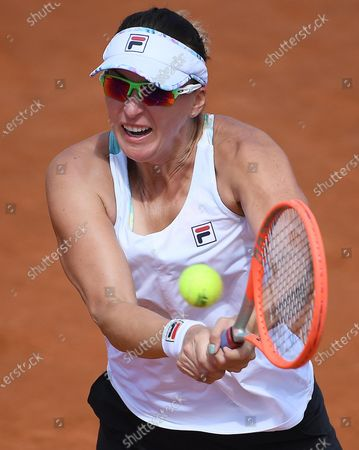 Stock Photo of Yaroslava Shvedova of Kazakhstan in action against Ashleigh Barty of Australia during their women's singles second round match at the Italian Open tennis tournament in Rome, Italy, 12 May 2021.