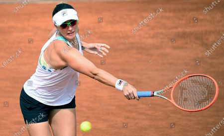 Yaroslava Shvedova of Kazakhstan in action against Ashleigh Barty of Australia during their women's singles second round match at the Italian Open tennis tournament in Rome, Italy, 12 May 2021.