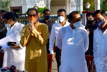 PWD Minister Ashok Chavan, Maharashtra CM Uddhav Thackeray along with Dy CM Ajit Pawar after meeting Maharashtra Governor Bhagat Singh Koshyari at Raj Bhavan, on May 11, 2021 in Mumbai, India. A delegation of Maharashtra Vikas Aghadi (MVA) leaders, led by chief minister Uddhav Thackeray, met Governor Bhagat Singh Koshyari on Tuesday evening and submitted a letter addressed to the President Ram Nath Kovind seeking his intervention for providing reservation to the Maratha community.