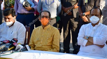 PWD Minister Ashok Chavan, Maharashtra CM Uddhav Thackeray along with Dy CM Ajit Pawar at the press conference after meeting Maharashtra Governor Bhagat Singh Koshyari at Raj Bhavan, on May 11, 2021 in Mumbai, India. A delegation of Maharashtra Vikas Aghadi (MVA) leaders, led by chief minister Uddhav Thackeray, met Governor Bhagat Singh Koshyari on Tuesday evening and submitted a letter addressed to the President Ram Nath Kovind seeking his intervention for providing reservation to the Maratha community.