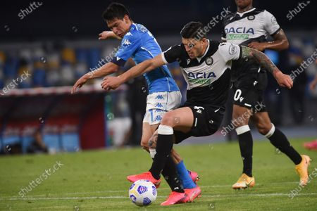 Stock Picture of Hirving Lozano of SSC Napoli during the Serie A match between SSC Napoli and Udinese Calcio at Stadio Diego Armando Maradona Naples Italy on 11 May 2021.