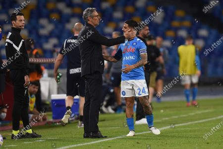 Luca Gotti Head Coach of Udinese Calcio with Lorenzo Insigne of SSC Napoli during the Serie A match between SSC Napoli and Udinese Calcio at Stadio Diego Armando Maradona Naples Italy on 11 May 2021.