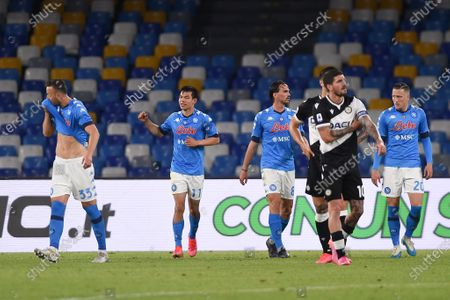 Hirving Lozano of SSC Napoli celebrates after scoring during the Serie A match between SSC Napoli and Udinese Calcio at Stadio Diego Armando Maradona Naples Italy on 11 May 2021.