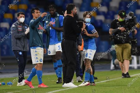 Gennaro Gattuso Head Coach of SSC Napoli celebrates with Lorenzo Insigne of SSC Napoli during the Serie A match between SSC Napoli and Udinese Calcio at Stadio Diego Armando Maradona Naples Italy on 11 May 2021.
