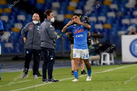 Lorenzo Insigne of SSC Napoli celebrates after scoring during the Serie A match between SSC Napoli and Udinese Calcio at Stadio Diego Armando Maradona Naples Italy on 11 May 2021.