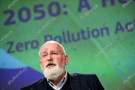 European Commissioner for European Green Deal Frans Timmermans speaks during a media conference on the EU Action Plan towards zero pollution for air, water and soil at EU headquarters in Brussels