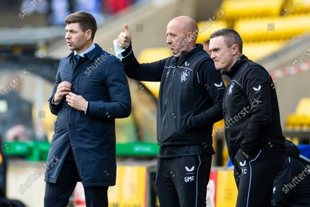 Rangers Manager Steven Gerrard reacts alongside Assistant Manager Gary McAllister and Technical Coach Tom Culshaw during the Scottish Premiership match at the Tony Macaroni Arena, Livingston.