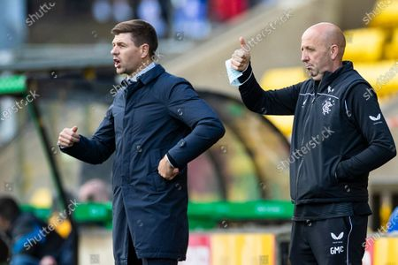 Rangers Manager Steven Gerrard reacts alongside Assistant Manager Gary McAllister during the Scottish Premiership match at the Tony Macaroni Arena, Livingston.