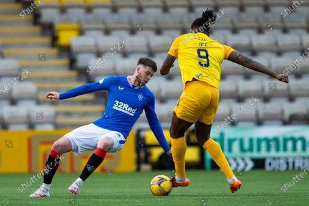 Jack Simpson of Rangers and Jay Emmanuel-Thomas of Livingston during the Scottish Premiership match at the Tony Macaroni Arena, Livingston.