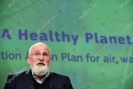European Commission Executive Vice-President for the European Green Deal, Frans Timmermans, speaks during a news conference on the Commisssion's 'Zero Pollution Action' plan, in Brussels, Belgium, 12 May 2021.