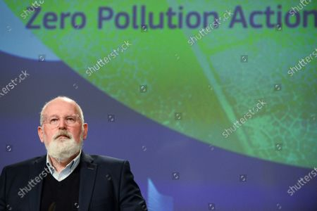 Stock Picture of European Commission Executive Vice-President for the European Green Deal, Frans Timmermans, speaks during a news conference on the Commisssion's 'Zero Pollution Action' plan, in Brussels, Belgium, 12 May 2021.