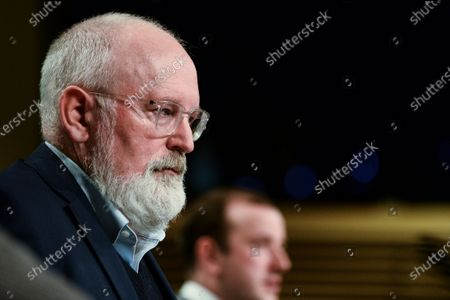 Stock Image of European Commission Executive Vice-President for the European Green Deal, Frans Timmermans (L) attends a news conference on the Commisssion's 'Zero Pollution Action' plan, in Brussels, Belgium, 12 May 2021.