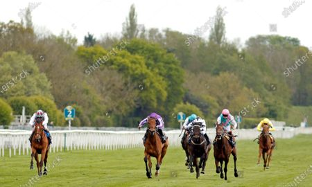 SNOWFALL (centre, Ryan Moore) beats NOON STAR (right) and TEONA (left) in The Tattersalls Musidora Stakes York