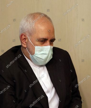 Iranian Foreign Minister Mohammad Javad Zarif meets his Syrian counterpart Faisal Mikdad (unseen) for talks in Damascus, Syria, 12 May 2021. In a statement to reporters upon his his arrival, the Iranian Minister was quoted by the official Syrian News Agency SANA as saying that 'the criminal acts of the Zionist entity that have escalated since International Jerusalem Day and the unprecedented events that took place in the Al-Aqsa Mosque and the occupied territories and the bombing of Gaza have created very deteriorating conditions in the region'  adding that Syria 'as one of the leading countries in the axis of resistance, has a very important role in this field.'