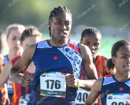 South African long distance athlete Caster Semenya on her way to winning the 5,000 meters at the South African national championships in Pretoria, South Africa, Olympic champion Semenya was sentenced to 50 hours of community service for speeding while driving in South Africa, prosecutors said Wednesday May 12, 2021