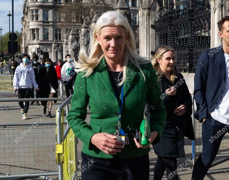 Amanda Milling departs Parliament on 11th May 2021 in London, UK, after the Queens Speech.