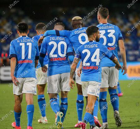 Hirving Lozano, Piotr Zielinski,  Victor Osimhen, Amir Rrahmani, Lorenzo Insigne (Napoli) during the match