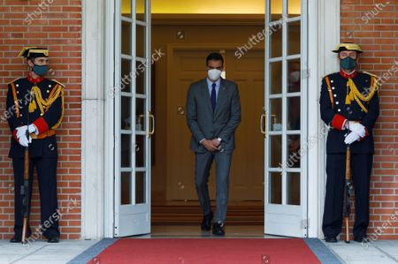 Spanish Prime Minister, Pedro Sanchez (C), on his way to welcome the Prime Minister of North Macedonia Zoran Zaev (not pictured) shortly before both leaders hold a meeting at La Moncloa Palace, in Madrid, Spain, 12 May 2021.