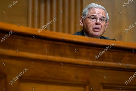 Sen. Bob Menendez, D-N.J., asks a question of United States Trade Representative Katherine C. Tai as she testifies before the Senate Finance Committee on Capitol Hill in Washington, during a hearing to examine President Joe Biden's 2021 trade policy agenda