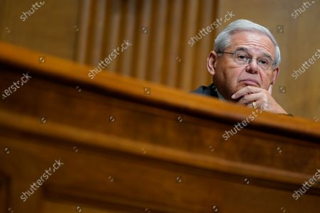 Stock Image of United States Senator Bob Menendez (Democrat of New Jersey), listens to United States Trade Representative Katherine C. Tai as she testifies before the Senate Finance Committee on Capitol Hill in Washington,, during a hearing to examine President Joe Biden's 2021 trade policy agenda.
