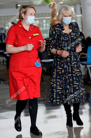 Stock Photo of Camilla, Camilla Duchess of Cornwall walks with Michelle Johnson, Director of Nursing during a visit on International Nurse Day to Whittington Hospital in London