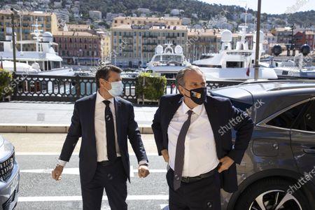 (D-G) Christian Estrosi (Mayor of Nice, President of the Metropolis Nice Cote d'Azur, President of the Provence-Alpes-Cote d'Azur Region), Renaud Muselier (President of the Provence-Alpes-Cote d'Azur Region, President of Regions of France) Quai des Docks, Port Lympia